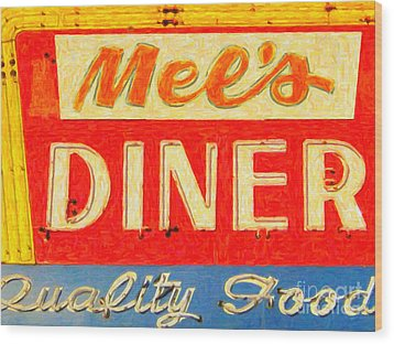 Mels Diner Wood Print by Wingsdomain Art and Photography