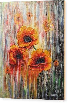 Melting Flowers Wood Print