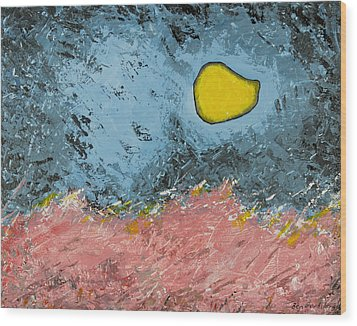 Wood Print featuring the painting Melting Moon Over Drifting Sand Dunes by Ben Gertsberg