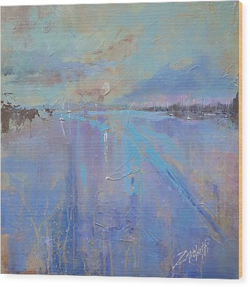 Wood Print featuring the painting Melting Reflections by Laura Lee Zanghetti