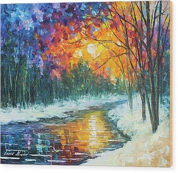 Melting River Wood Print by Leonid Afremov
