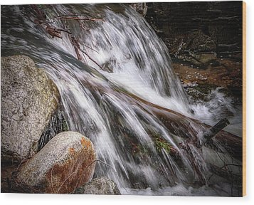Melting Snow Falls Wood Print by Elaine Malott
