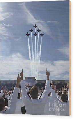 Members Of The U.s. Naval Academy Cheer Wood Print by Stocktrek Images