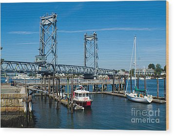Memorial Bridge Portsmouth Wood Print by Kevin Fortier