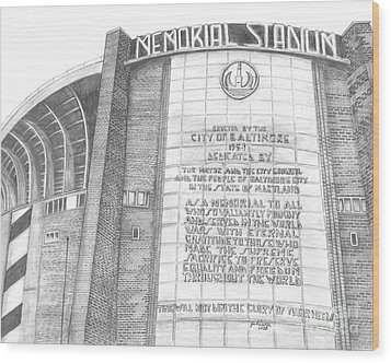 Memorial Stadium Wood Print by Juliana Dube
