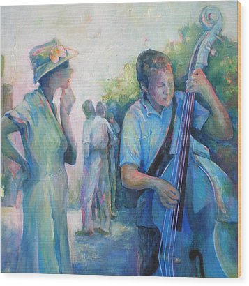 Memories -  Woman Is Intrigued By Musician.  Wood Print by Susanne Clark