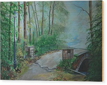 Wood Print featuring the painting Memory Bridge by Leslie Allen