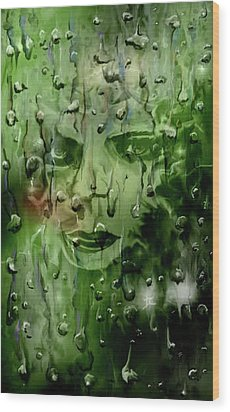 Wood Print featuring the digital art Memory In The Rain by Darren Cannell