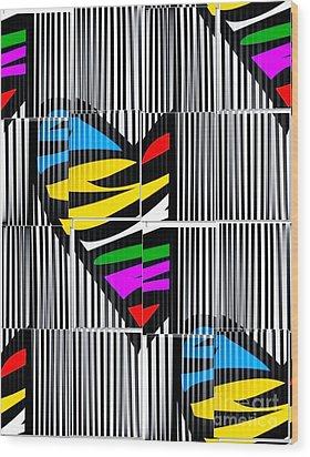 Memory Popart Heart By Nico Bielow  Wood Print