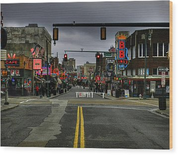 Memphis - Beale Street 001 Wood Print by Lance Vaughn