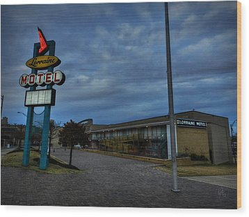 Memphis - Dark Clouds Over The Lorraine Motel Wood Print by Lance Vaughn