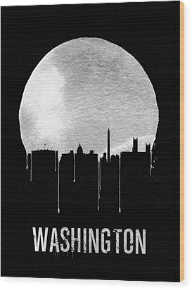 Memphis Skyline Black Wood Print