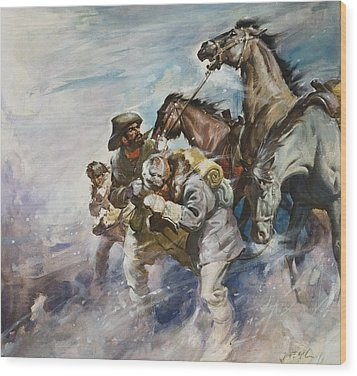Men And Horses Battling A Storm Wood Print by James Edwin McConnell