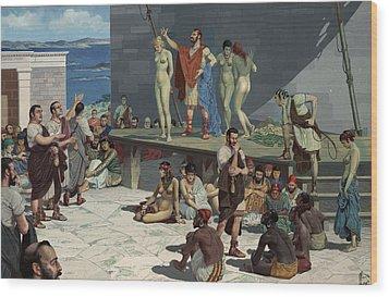 Men Bid On Women At A Slave Market Wood Print by H.M. Herget