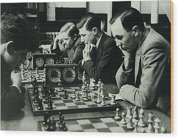 Men Concentrate On Chess Matches, 1940s Wood Print by Archive Holdings Inc.