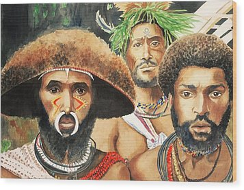 Men From New Guinea Wood Print by Judy Swerlick