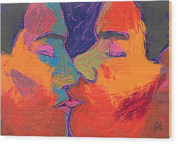 Men Kissing Colorful 2 Wood Print by Shungaboy X