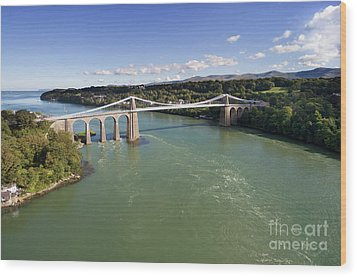 Menai Bridge 1 Wood Print by Steev Stamford
