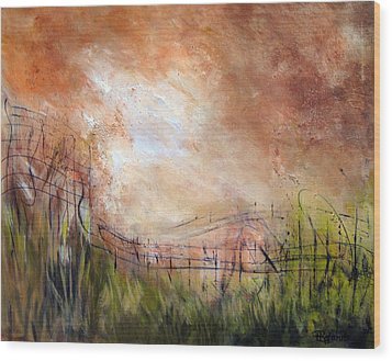 Mending Fences Wood Print by Roberta Rotunda