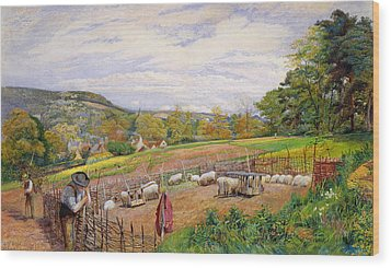 Mending The Sheep Pen Wood Print by William Henry Millais