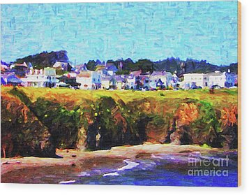Mendocino Bluffs Wood Print by Wingsdomain Art and Photography