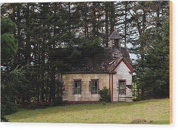 Mendocino Schoolhouse Wood Print by Grant Groberg