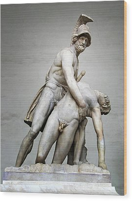Menelaus And Patroclus Sculpture Wood Print by Artecco Fine Art Photography