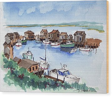 Menemsha Safe Haven Wood Print by John Crowther