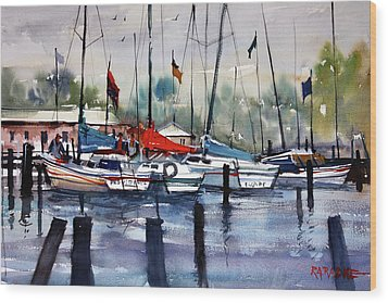 Menominee Marina Wood Print by Ryan Radke