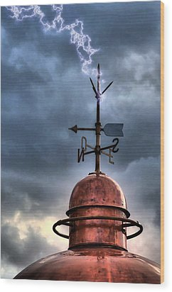 Menorca Copper Lighthouse Dome With Lightning Rod Under A Bluish And Stormy Sky And Lightning Effect Wood Print by Pedro Cardona