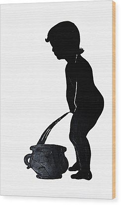 Mens Room Sign Silhouette Wood Print