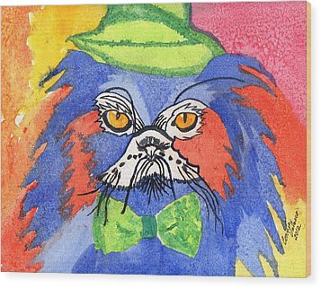 Meow Wood Print by Connie Valasco