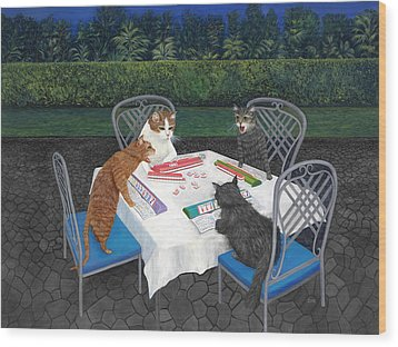 Meowjongg - Cats Playing Mahjongg Wood Print