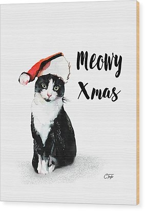 Wood Print featuring the painting Meowy Xmas by Colleen Taylor