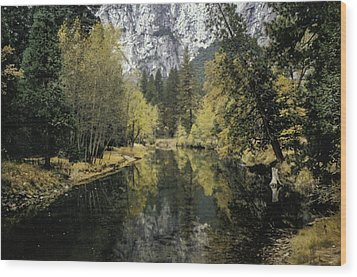 Merced River Reflection Wood Print