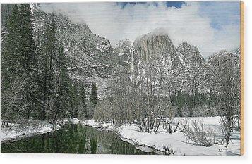Merced Yosemite Falls Winter California Landscape Art Wood Print by Larry Darnell
