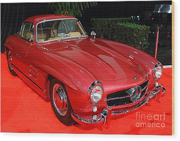 Mercedes 300sl . Red . 7d9172 Wood Print by Wingsdomain Art and Photography