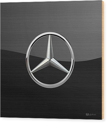 Mercedes-benz - 3d Badge On Black Wood Print