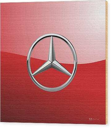 Mercedes-benz - 3d Badge On Red Wood Print