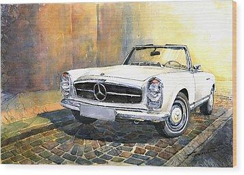 Mercedes Benz W113 280 Sl Pagoda Front Wood Print by Yuriy  Shevchuk