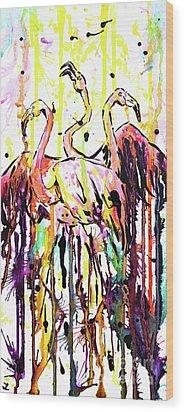 Wood Print featuring the painting Merging. Flamingos by Zaira Dzhaubaeva