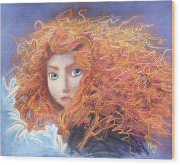 Merida From Pixar's Brave Wood Print by Andrew Fling