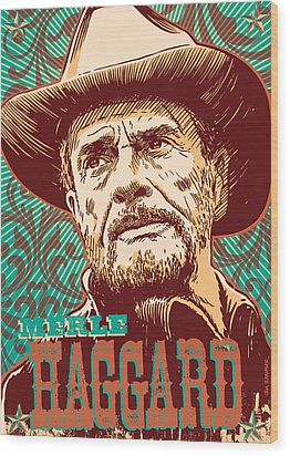 Merle Haggard Pop Art Wood Print