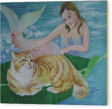 Mermaid And Cat Wood Print by Lian Zhen