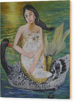 Mermaid And Swan Wood Print by Lian Zhen