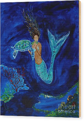 Mermaid And The Sea Turtle Wood Print