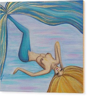 Mermaid Golden Hair Wood Print by Beryllium Canvas