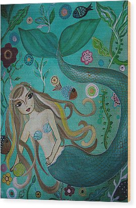 Wood Print featuring the painting Mermaid-lady Of The Sea by Pristine Cartera Turkus