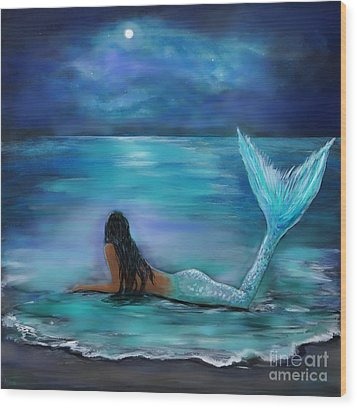 Mermaid Moon And Stars Wood Print