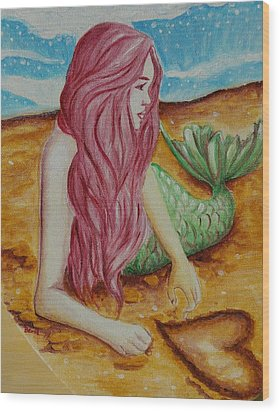 Mermaid On Sand With Heart Wood Print by Beryllium Canvas